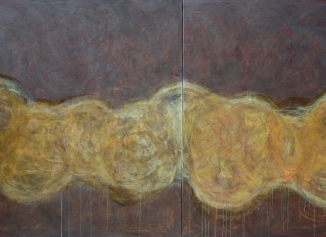 earth brown and gold, 64″ x 106″