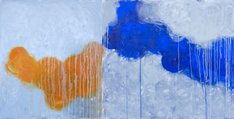 i'm with orange, i'm with blue, 58″ x 114″