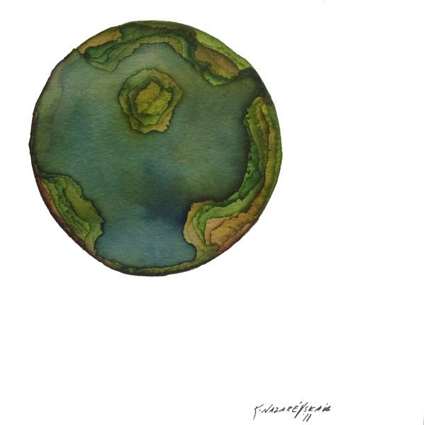 Kristina Nazarevskaia, Spheres 17. Japanese watercolor on waterc