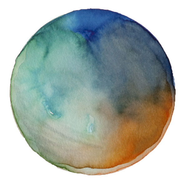 Spheres 35, 6″ x 6″ Watercolor on paper